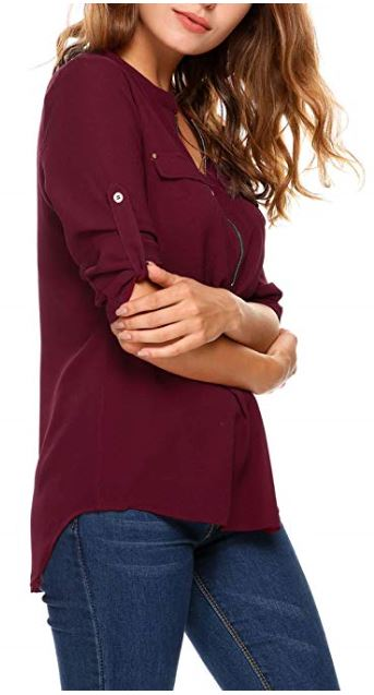 01 ANGVNS Women Casual Long Sleeve Roll-Up Sleeve Chiffon Zip Up V Neck Blouse b