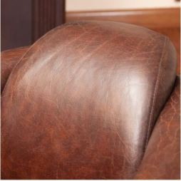 Distressed smooth brown top grain leather