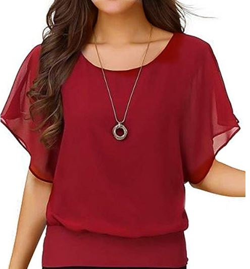 04 Viishow Women's Loose Casual Short Sleeve Chiffon Top T-Shirt Blouse a