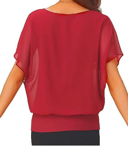 04 Viishow Women's Loose Casual Short Sleeve Chiffon Top T-Shirt Blouse b