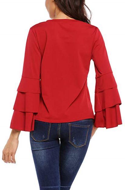 05 Beyove Women Blouse Round Neck Layered Ruffle Bell Long Sleeve Solid Polka Dot Casual Shirt Elegant Tee Top b