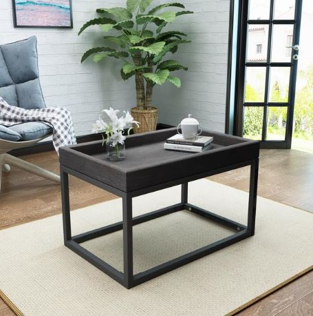 05 Halo Finished Faux Wood Coffee Table with Black Iron Frame A