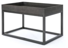 05 Halo Finished Faux Wood Coffee Table with Black Iron Frame B