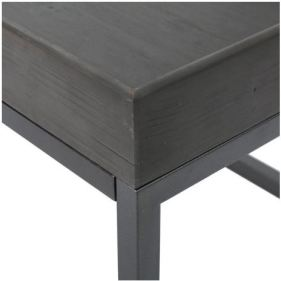 05 Halo Finished Faux Wood Coffee Table with Black Iron Frame C