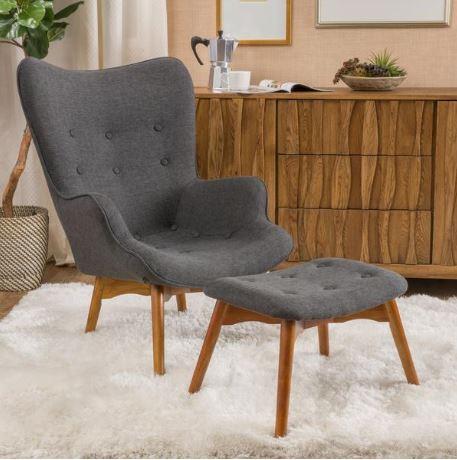Acantha Fabric Contour Chair With Footstool A