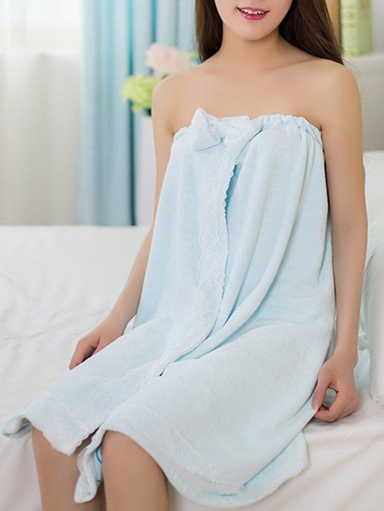 Bow Decor Lace Trim Shower Wrap 2