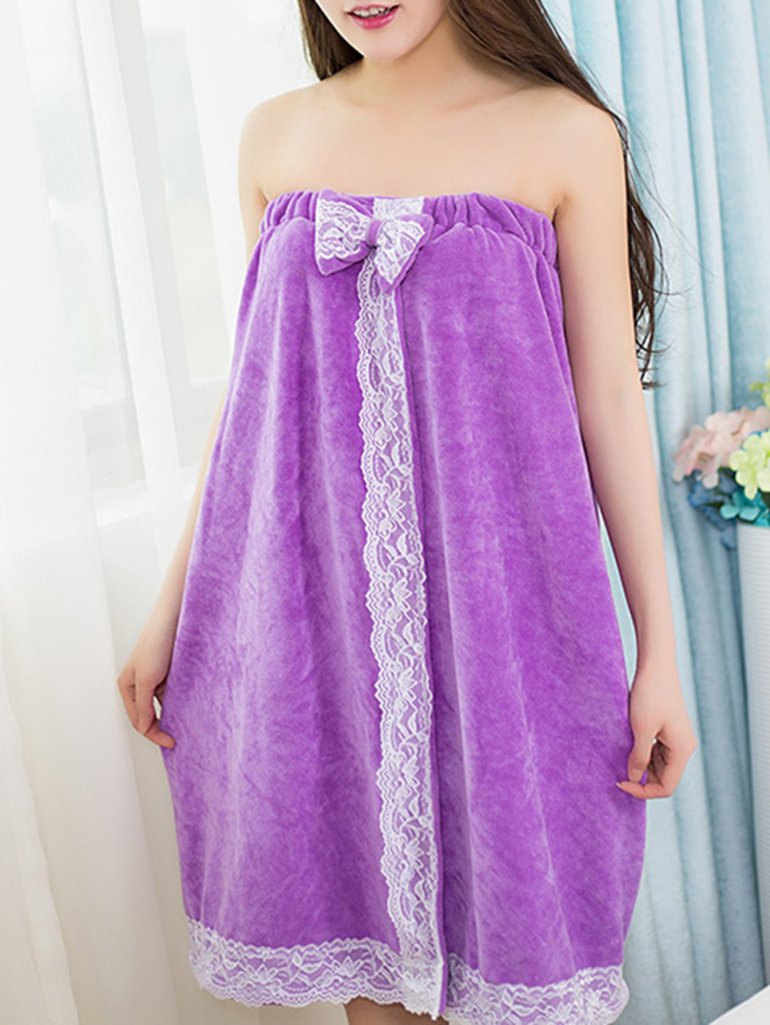 Bow Decor Lace Trim Shower Wrap 4