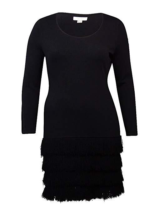 Calvin Klein Deep Women's Medium Fringed Sheath Dress Black M