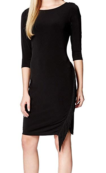Calvin Klein Women Fringed Trim Jersey Sheath Dress
