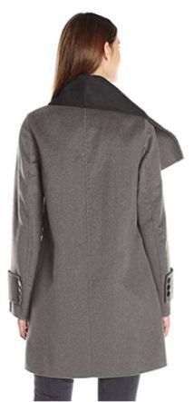 Calvin Klein Women's Double Face Wool Coat, Tin Charcoal, XL a