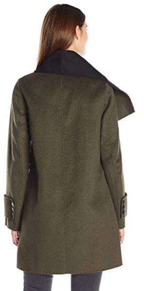 Calvin Klein Women's Double Face Wool Coat, Tin Charcoal, XL b