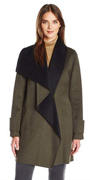 Calvin Klein Women's Double Face Wool Coat, Tin Charcoal, XL c