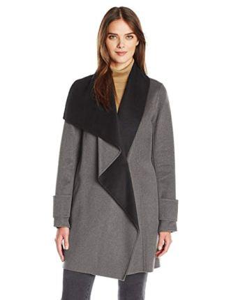 Calvin Klein Women's Double Face Wool Coat, Tin Charcoal, XL