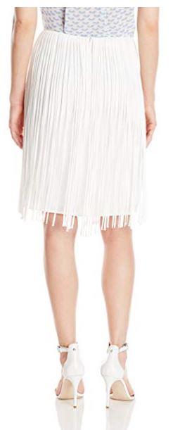 Calvin Klein Women's Fringed Skirt, Soft White, 12 a