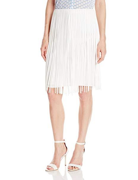 Calvin Klein Women's Fringed Skirt, Soft White, 12