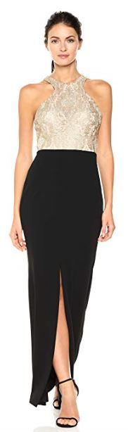 Calvin Klein Womens Long Dress with Embroidered Bodice Gold Black 001