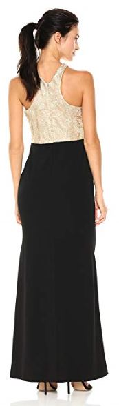 Calvin Klein Womens Long Dress with Embroidered Bodice Gold Black 002