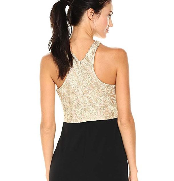 Calvin Klein Womens Long Dress with Embroidered Bodice Gold Black 003