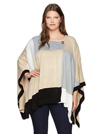 Calvin Klein Women's Plus Color Block Poncho Sweater, a