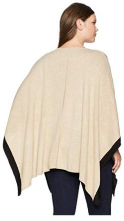 Calvin Klein Women's Plus Color Block Poncho Sweater b