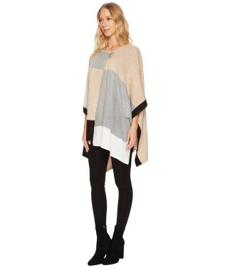 Calvin Klein Women's Plus Color Block Poncho Sweater c