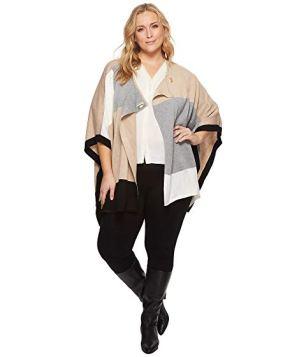 Calvin Klein Women's Plus Color Block Poncho Sweater d