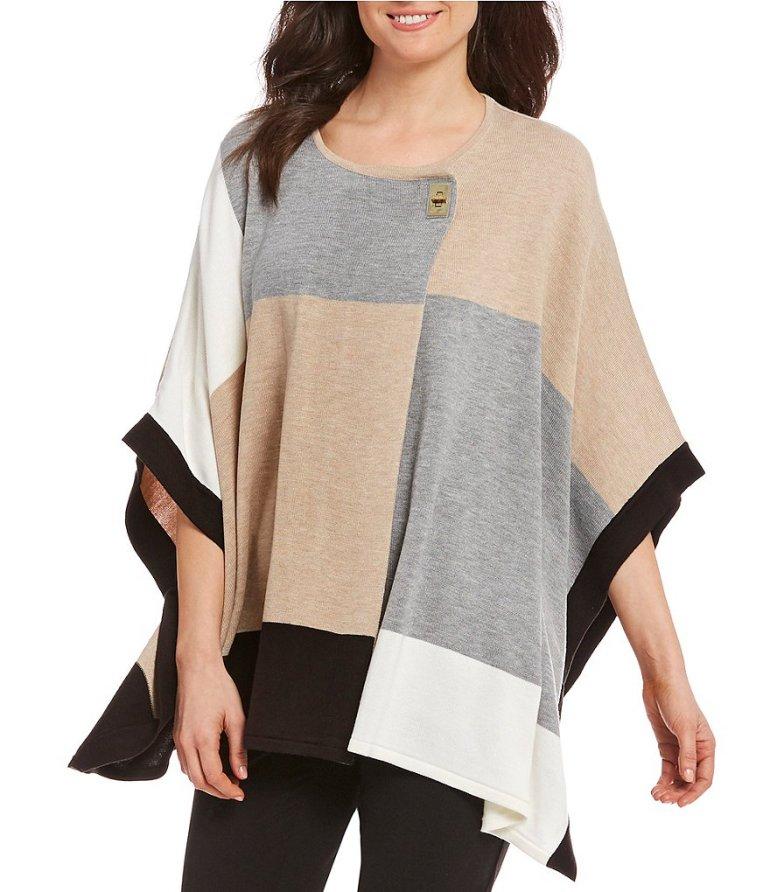 Calvin Klein Women's Plus Color Block Poncho Sweater e