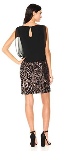 Calvin Klein Women's Sleeveless Dress with Embroidered Skirt Black Copper a