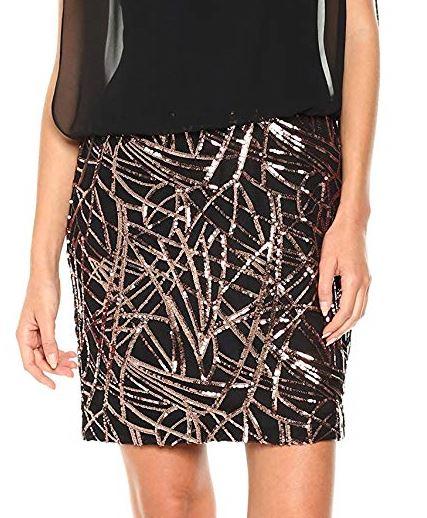 Calvin Klein Women's Sleeveless Dress with Embroidered Skirt Black Copper b