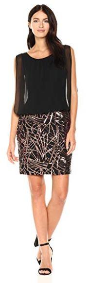 Calvin Klein Women's Sleeveless Dress with Embroidered Skirt Black Copper