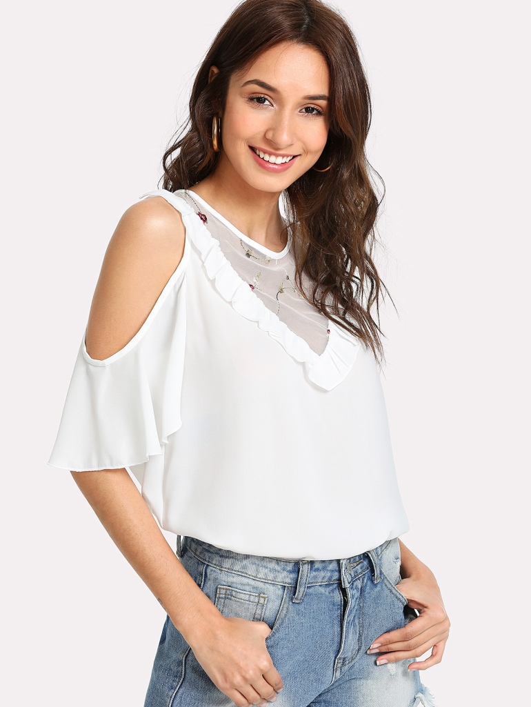 Frilled Detail Embroidery Mesh Insert Blouse 1