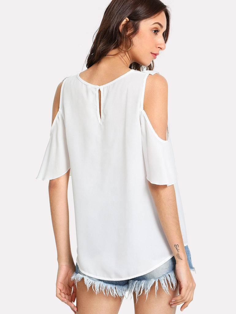 Frilled Detail Embroidery Mesh Insert Blouse 2