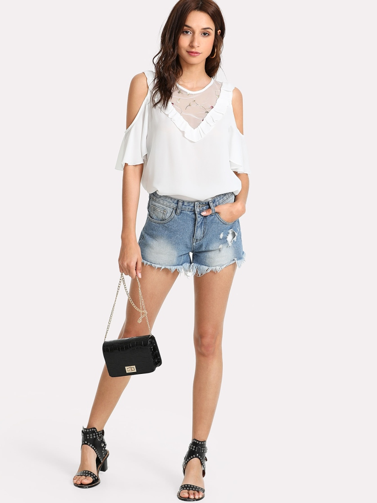Frilled Detail Embroidery Mesh Insert Blouse 3