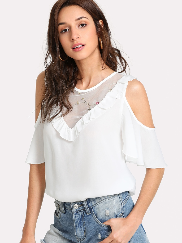 Frilled Detail Embroidery Mesh Insert Blouse 4