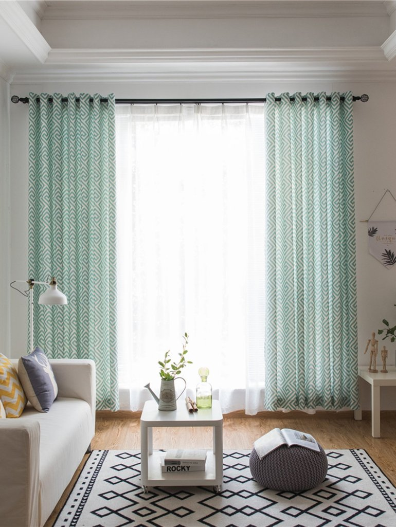 Geometric Print Eyelet Curtain 1