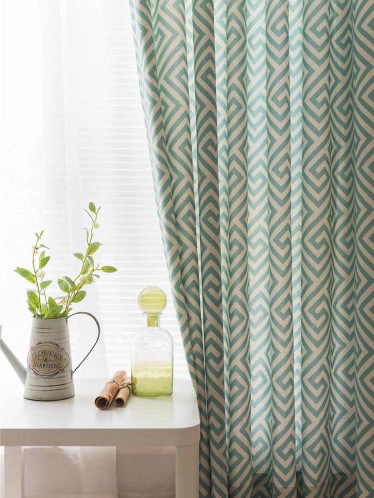 Geometric Print Eyelet Curtain 2