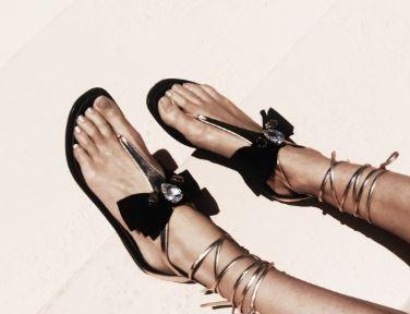 Gold Metallic Black Bow Teardrop Rhinestone Strappy Sandals 1