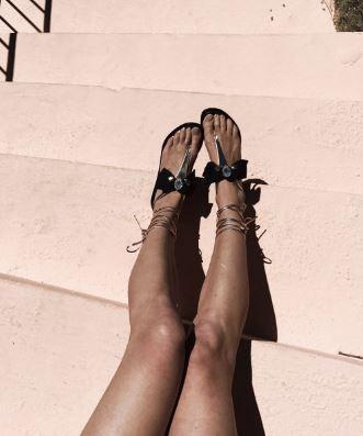 Gold Metallic Black Bow Teardrop Rhinestone Strappy Sandals 2