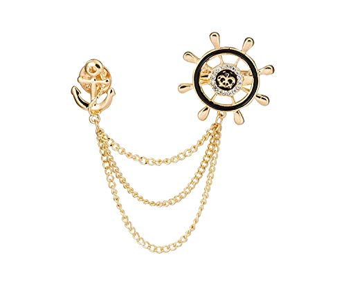 Knighthood Men's Steering Wheel Royal Crown Rudder Anchor Tassel Chain Brooch Gold Golden