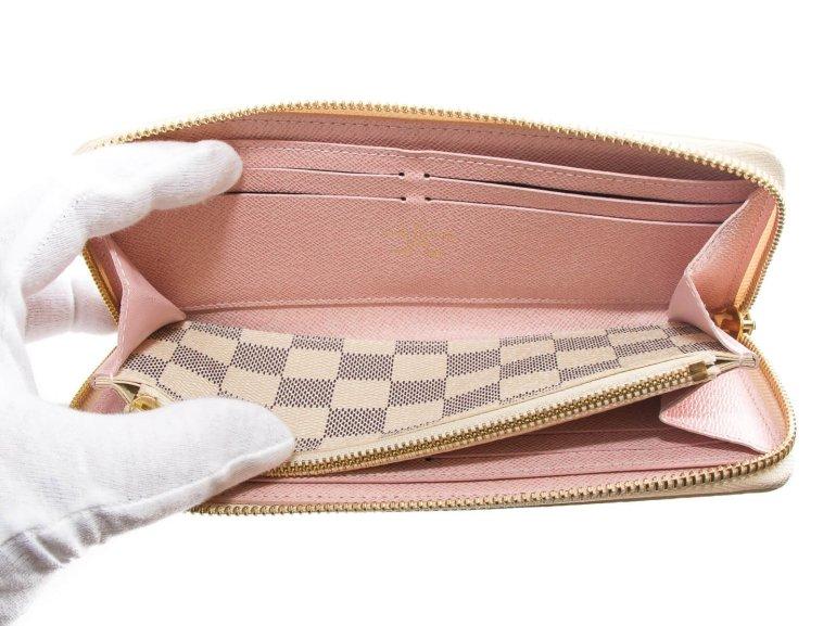 Louis Vuitton Damier Azur Canvas Rose Ballerine Clemence Wallet N61264 001