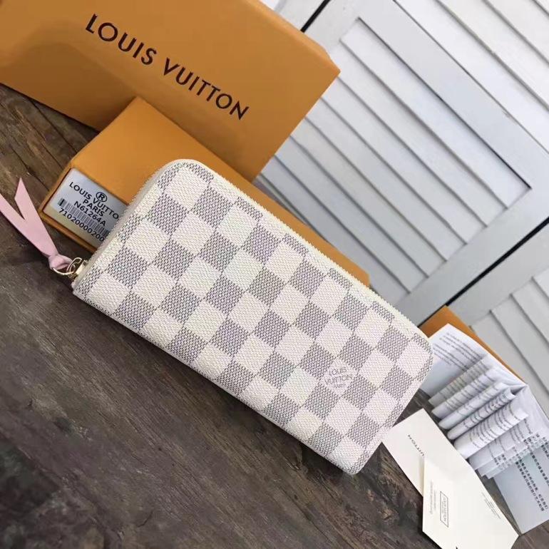 Louis Vuitton Damier Azur Canvas Rose Ballerine Clemence Wallet N61264 005