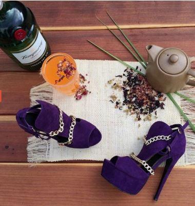 ONLY $79.99 Women's Purple Gold Chains Platform Sandals Peep Toe Heels Pumps 3