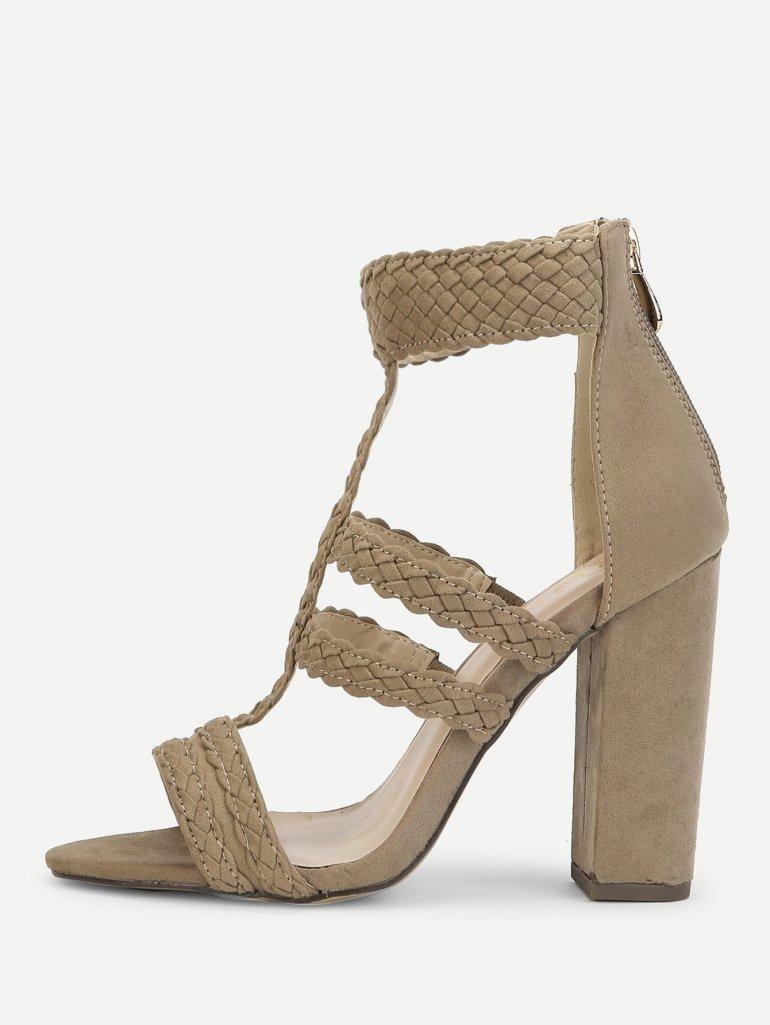 Plaited Detail Heeled Sandals 1