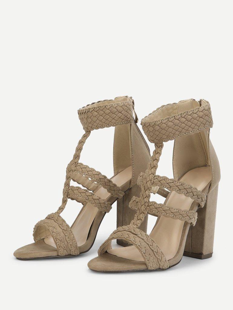 Plaited Detail Heeled Sandals 2