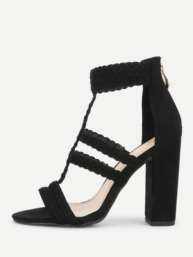 Plaited Detail Heeled Sandals 5