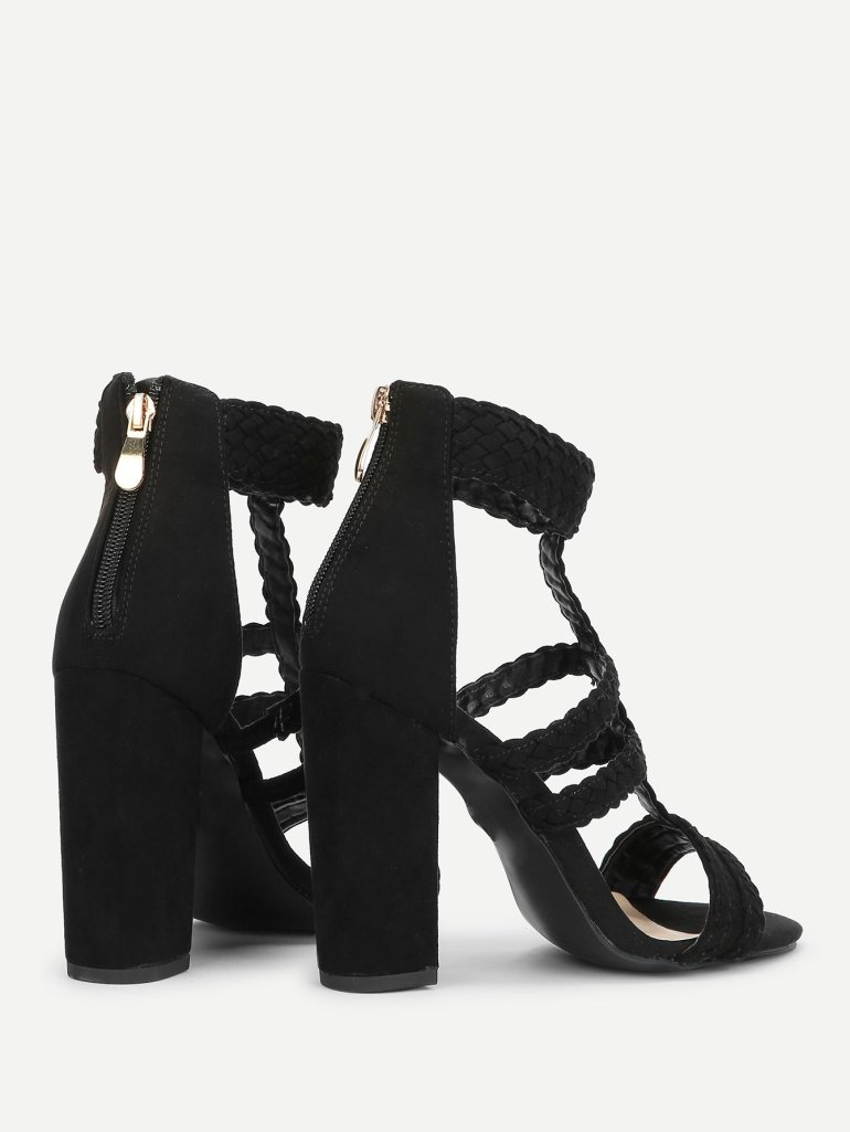 Plaited Detail Heeled Sandals 7