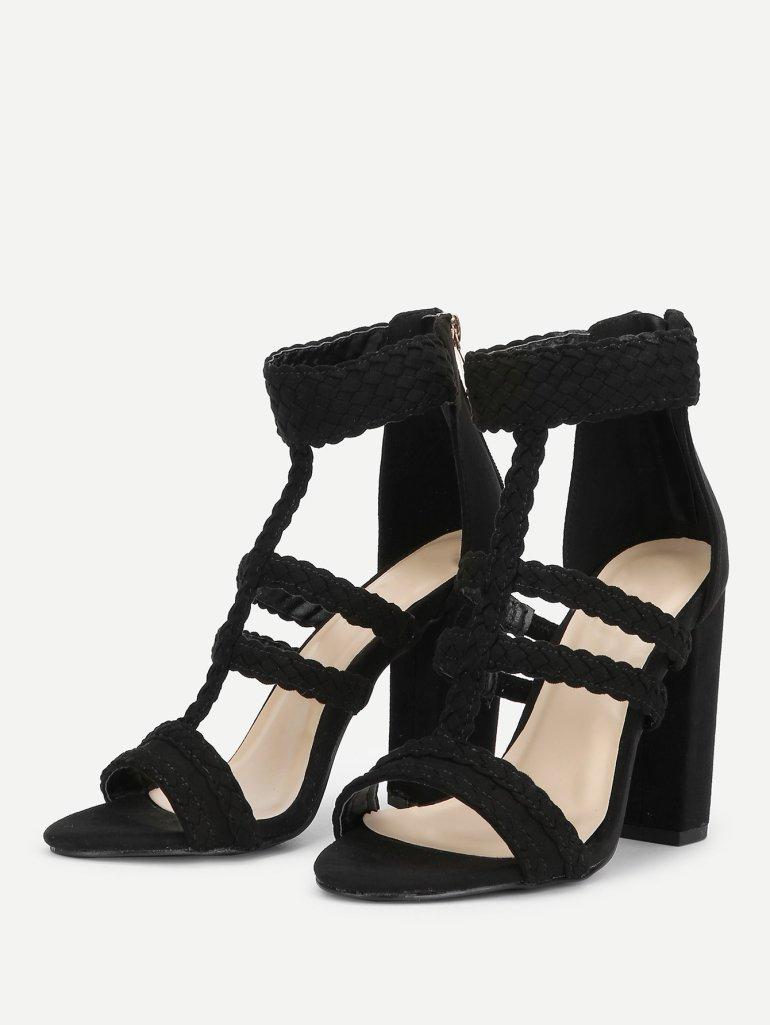 Plaited Detail Heeled Sandals 8