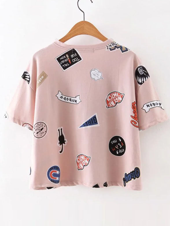 ROMWE Pink Round Neck Printed Short Sleeve TShirt 15.99 1