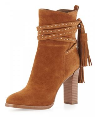 Tan Boots Suede Tassels Chunky Heels for Women 1