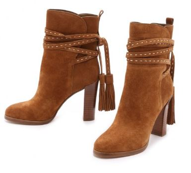 Tan Boots Suede Tassels Chunky Heels for Women 2